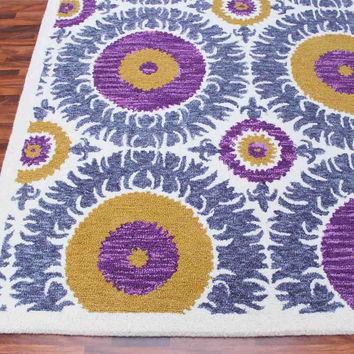 Bohemia Floral Blue Gold 5 x 8 Handmade Floral Persian Style Wool Area Rug