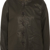 Current/Elliott + Charlotte Gainsbourg The Loop Button waxed cotton-blend jacket – 65% at THE OUTNET.COM