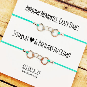 Silver Partners in Crime Handcuff Friendship Bracelet Set | BFF, Best Friend Gift Jewelry | Matching Friend Bracelets | Sorority Bracelets