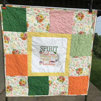 Scripture gifts for her , Religious gifts for baptism, Scripture quilts, Handmade quilts for sale, Floral quilt, Floral blanket, Lap quilt