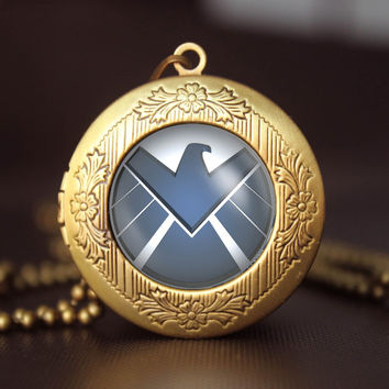 Agents of shield Necklace S.H.I.E.L.D. Logo, Agents of shield jewelry, shield Pendant  Agents of shield gift,friend gift locket necklace