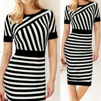 Stripe Short-Sleeve Pencil Bodycon Dress