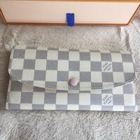 Auth Louis Vuitton Damier Azur Emilie Long Wallet Rose