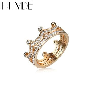 H:HYDE New Luxury CZ Silver/Gold Color My Princess Queen Rings for Women Engagement Crown Wedding Ring Vintage Jewelry Bijoux
