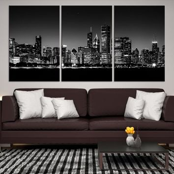 58804 - Chicago Wall Art Canvas Print - Extra Large Chicago City Night Canvas Print - Chicago Skyline Night Canvas Print