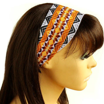 Brown Peruvian fabric, Peruvian textile, Multicolor, Woven Turban Headband, Headband Head Wrap, boho headband, wide headband