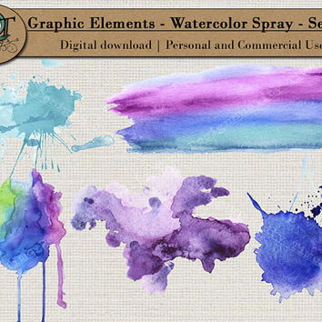Quality Time Designs | Watercolor Splash Elements | Digital Download | Personal or Commercial Use | Transparent Background | PNG | Graphic
