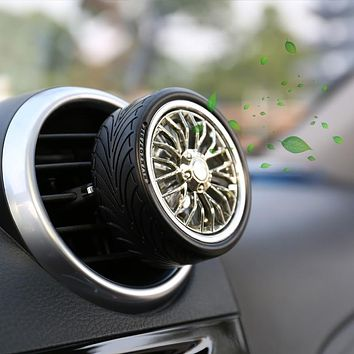 Car Air Freshener Screw Propeller Creative Essential Aromatherapy Oil Tire Wheel Turns Diffuser+2 Refill Pads with Fresh Scent