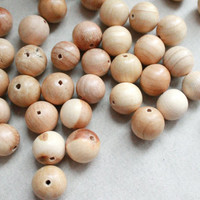 Juniper aroma beads 14 mm Natural polished - 10 pcs - eco friendly r14mm