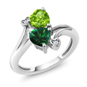 1.54 Ct Heart Shape Green Simulated Emerald Green Peridot 925 Silver Ring