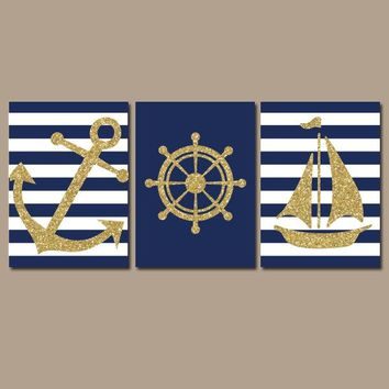 GLITTER Nautical Wall Art, Bathroom Decor, Navy Blue Gold Glitter Wall Art, Dorm Room Ocean Anchor Boat Wheel Set of 3 Canvas or Prints