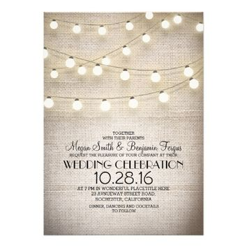 burlap lace & string lights rustic wedding invites