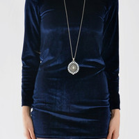 Long Sleeve Velvet Dress In Dark Blue