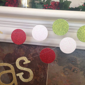 Merry christmas glitter banner garland gold red white green