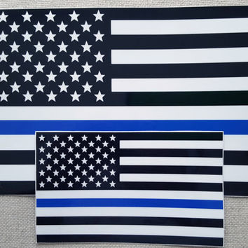 SET OF (2) 5x8 & 3x5 Thin Blue Line Police respect flag Vinyl Decal Sticker USA