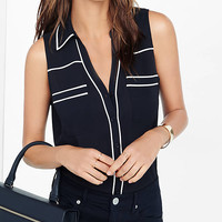 Original Fit Piped Sleeveless Portofino Shirt from EXPRESS