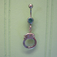 Belly Button Ring - Body Jewelry -Silver Handcuff With Lt. Blue Gem Stone Belly Button Ring