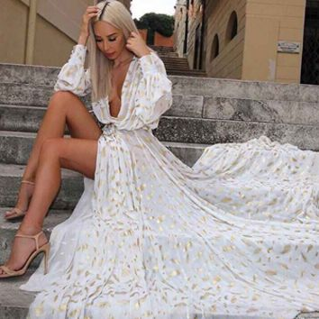 Fairytale Fantasy White Gold Long Sleeve Plunge V Neck High Slit Maxi Dress