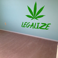 Legalize Weed Sticker Cannabis Pot Decal Wall Decor Mural Weed Sticker 420 Decal Bong Hippy Stoner Decal Wall Art Removable 6n/15cm