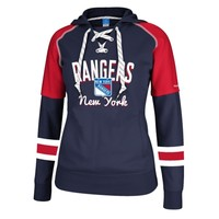 Women's New York Rangers Reebok Navy Blue/Red Core Pullover Hoodie