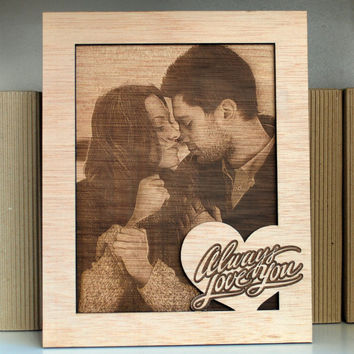 laser engraved photo on wood, frame personalized item,valentine's day gift all occasions