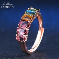LAMOON Real Natural 6pcs 1.5ct Oval Multi-color Tourmaline Ring 925 Sterling Silver Jewelry 18K Rose Gold Engagement Rings Gifts