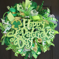 St. Patrick's Day wreath, St. Patrick's deco mesh wreath, deco mesh wreaths, St. Patrick's mesh wreaths, front door wreath