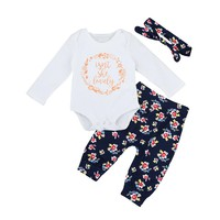 "3 Pc Long Sleeve ""Isn't She Lovely"" Onesuit with Floral Flower Pants and Headband"