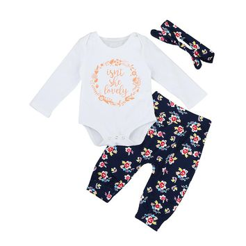 """3 Pc Long Sleeve """"Isn't She Lovely"""" Onesuit with Floral Flower Pants and Headband"""