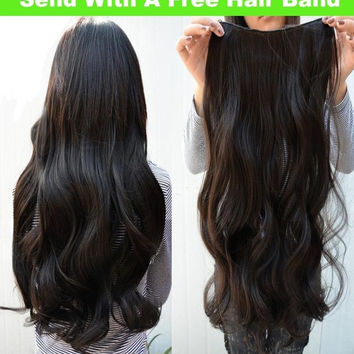 Fashion Long Curly Fashion Clip in Hair Extensions 5 Clips Wigs 3 Colors + Free Gift Hair band 1pc by random = 5658523201
