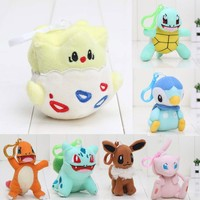 9-12cm New Pocket doll Plush pendant Bulbasaur Eevee Piplup Charmander Squirtle Plush Toy Stuffed Doll Soft  keychain with hook