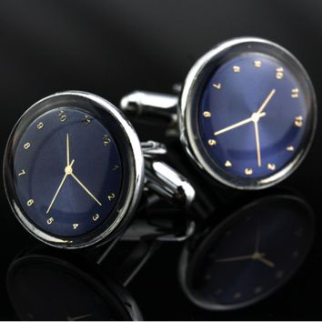 Miniature Blue on Gold Clock Cufflinks