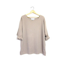 Vintage Textured Beige Shirt Oversized Long Sleeve Slouchy Top Oatmeal Scoop Neck Hipster Boho Minimal Loose Fitting Top Vintage Large XL