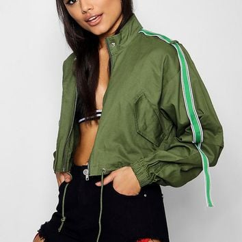 Emma Cropped Utility Jacket With Sports Tape | Boohoo