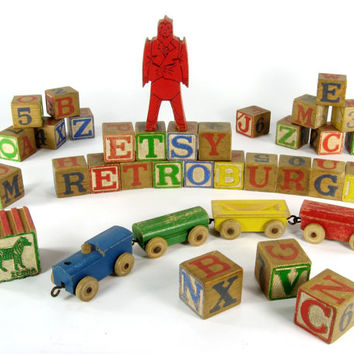 Vintage Childrens Blocks and Toy Train / Antique Wooden Block / ABC Toy Block / Alphabet Blocks / Letters and Numbers