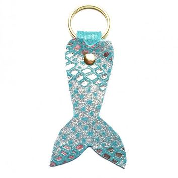 Keychains - Mermaid Tail Keychain in Aquamarine