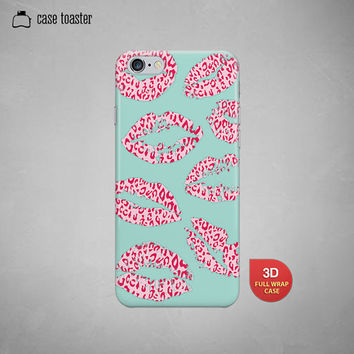 "Leopard pink kiss mark- iphone 6 case (4.7""), iphone 6 plus case (5.5""), iphone 5C case, iphone 5S case, iphone 4S case"