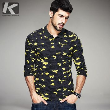 Autumn Mens Fashion Polo Shirts Camouflage Printed Famous Brands Clothing Man's Long S