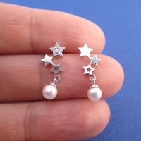 Row of Stars Shaped Space Themed Dangle Earrings in Silver with Pearls and Rhinestones