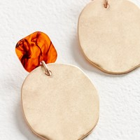 Hammered Tortoise Statement Drop Earring | Urban Outfitters