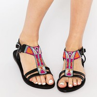 Park Lane Aztec Bead Leather Flat Sandals