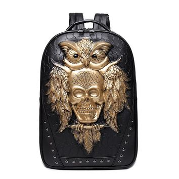 2017 stylish backpacks 3D Skull owl backpack special cool shoulder bags for teenage girls PU leather laptop school bags Hot Sale