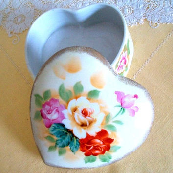 Heart Shaped Jewelry Box - Ceramic Home Decor Trinket Box - Rose and Gold Painted Porcelain Container