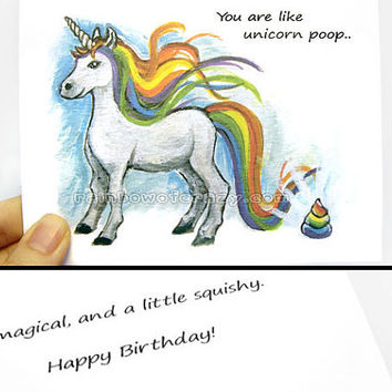 Funny Card, Unicorn Poop, Happy Birthday Card, Thank You Card, Valentine's Day, Anniversary Card, Custom Notecard, Personalized Card