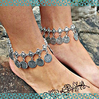 Bohemia Vintage Turkish Silver  Moon Lovers Old Coin Tassel Anklet