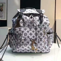 LV Women Shopping Leather Metal old plaid Backpack grey
