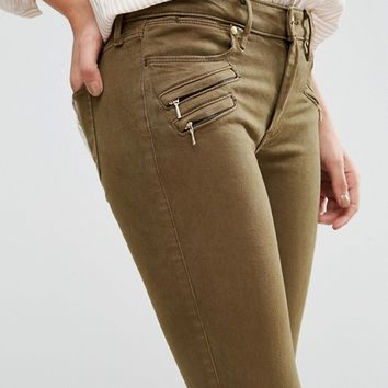 Abercrombie & Fitch Low Rise Skinny Trousers With Zips at asos.com