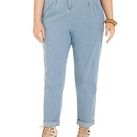 Modamix Plus Size Belted High-Waisted Cropped Jeans