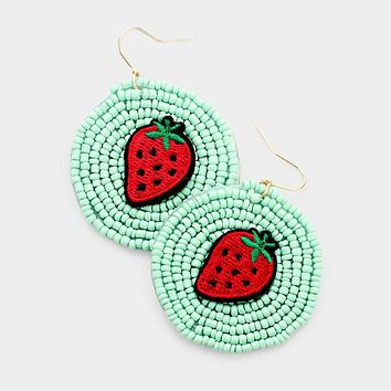 Strawberry Detail Seed Beaded Round Dangle Earrings