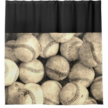 Vintage Baseball Shower Curtain